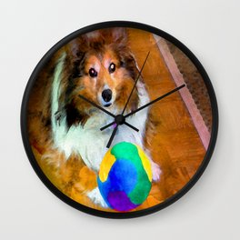 Sheltie with Ball Wall Clock
