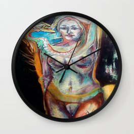 """""""Eve is the Serpent of Her Mind"""" - mixed media on MDF board, 32"""" x 42"""" roughly. Wall Clock"""