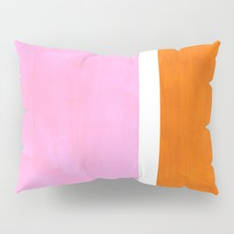 Pastel Neon Pink Yellow Ochre Mid Century Modern Abstract Minimalist Rothko Color Field Squares Pillow Sham