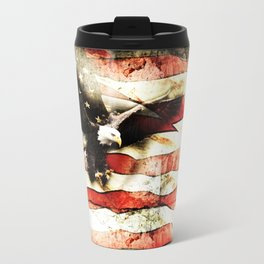 Bald Eagle Bursting Thru American Flag Travel Mug