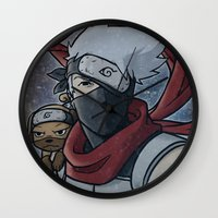 kakashi Wall Clocks featuring Kakashi and Pakkun by DeanDraws
