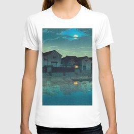 Kawase Hasui Vintage Japanese Woodblock Print Japanese Village Under Moonlight Cloudy Sky T-shirt