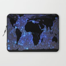 World Map : Blue Galaxy Stars Laptop Sleeve