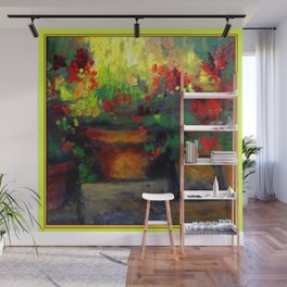 Chartreuse Decorative Red Geraniums Still Life  Painting Wall Mural