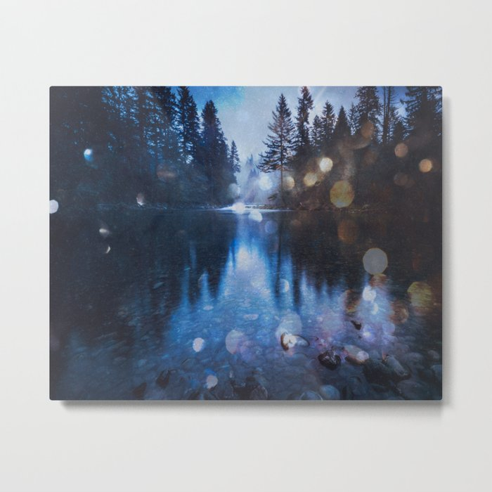 Magical Blue Forest Water Reflection Metal Print