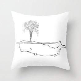 TRAGIC FLOWERING WHALE Throw Pillow
