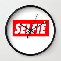 selfie Wall Clocks featuring Selfie by Poppo Inc.