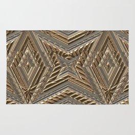 Shimmering Golden Ornamental Engraving Rug