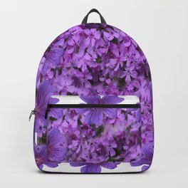 WHITE  LILAC PURPLE SPRING PHLOX FLOWERS GARDEN Backpack