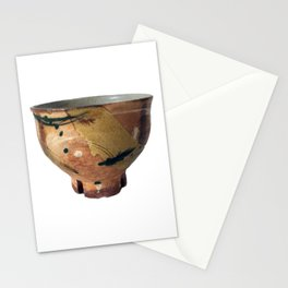 Rostislav Eismont Ceramic Pottery Bowl Woodfired Colored Slips Notched Cut Foot Stationery Cards