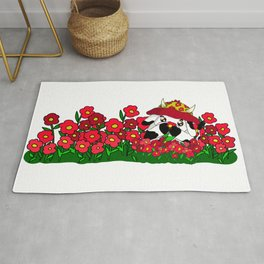 kawaii cow with poppies Rug