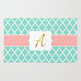 "Mint Pattern + Pink Coral Accent + Gold ""A"" Monogram Rug"