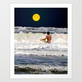 Moonlight Surf Art Print