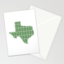 Texas State Shape: Green Plaid Stationery Cards