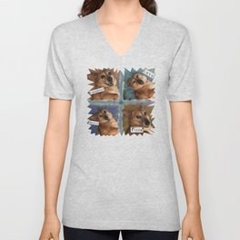 My Dog Says: Laughter, Love, Music, and Pizza! - Blue & Brown Palette Unisex V-Neck