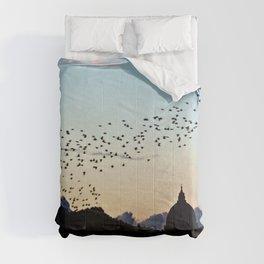 Murmuration Starlings Flock Birds Sunset Rome Italy Comforters