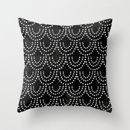 Dotted Scallop in Black Throw Pillow