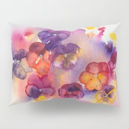 Spring watercolor flowers art colorful pansies Pillow Sham