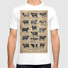 Vintage 1896 Cows Study on Antique Lancaster County Almanac White Mens Fitted Tee MEDIUM