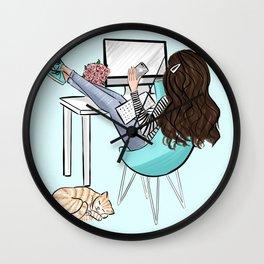 aqua girl boss Wall Clock