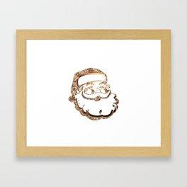 Santa Claus Funny Cute Father Christmas Elegant Faux Gold Framed Art Print