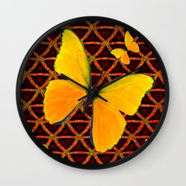 YELLOW BUTTERFLIES BROWN ART Wall Clock