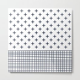 Cross Geometric Modern Navy and White Metal Print