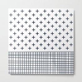Cross Geometric Modern Navy and White Metal Print