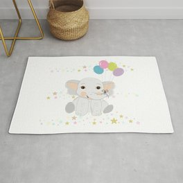 Cute baby elephant with colorful balloon Rug