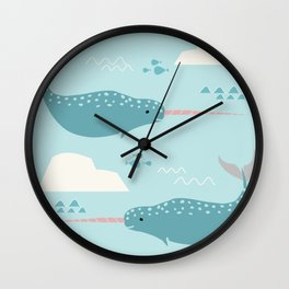 Narwhal blue Wall Clock