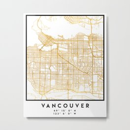 VANCOUVER CANADA CITY STREET MAP ART Metal Print