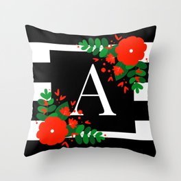 A - Monogrammed Initial Letter Throw Pillow