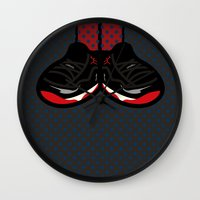 air jordan Wall Clocks featuring AIR JORDAN 11 by originalitypieces