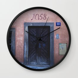 Pink House in Prague Wall Clock