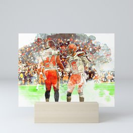 Browns Chubb & Mayfield Mini Art Print
