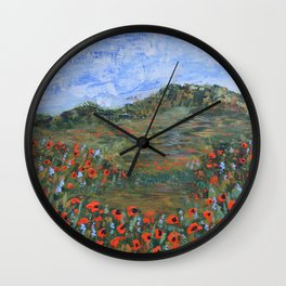 Realm of Poppies, abstract landscape painting, red poppies Wall Clock