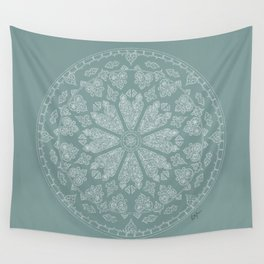 Blue Rose Window Wall Tapestry