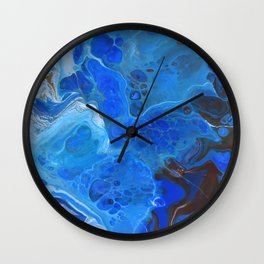 Storm Surge Blue and Brown Fluid Acrylic Abstract Painting Wall Clock