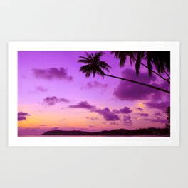 Magnificent Evening Red At Marvellous Beach With Palm Trees Violet Hue High Resolution Art Print