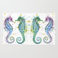 seahorse Area & Throw Rugs featuring Seahorse by Sam Nagel