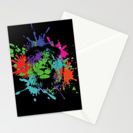 Lion Pop Art , African Lion Pop Art with colorful spots and splashes Stationery Cards