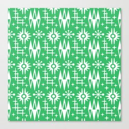 Mid Century Modern Atomic Space Age Pattern Green Canvas Print