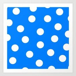 Polka Dots - Azure and White Art Print