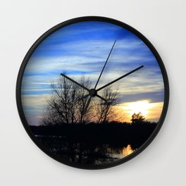 River in Flood at Sunset Wall Clock