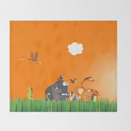 What's going on in the jungle? Kids collection Throw Blanket