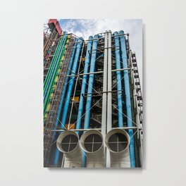 Colored pipelines on the facade of a building Metal Print