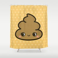 poop Shower Curtains featuring Cutey poop by Holly