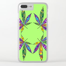 Patchwork Pot Leaves Clear iPhone Case