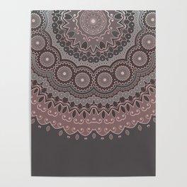 Mandala Spirit, Rose Pink, Gray Poster