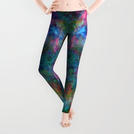 Butterfly Block Face (Cyan) (abstract, psychedelic, visionary) Leggings